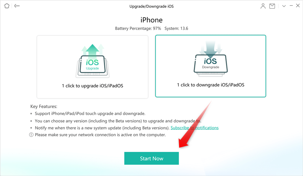 Choose 1 Click to Downgrade iOS/iPadOS