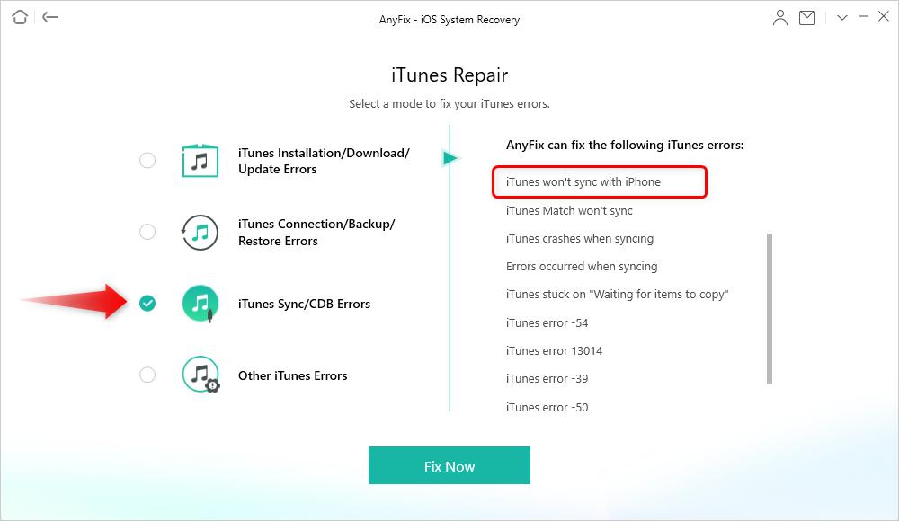 Choose iTunes Sync / CDB Errors