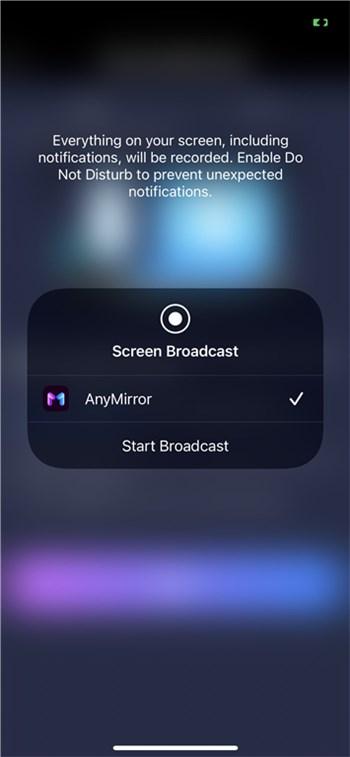 Choose Start Broadcast on iPhone