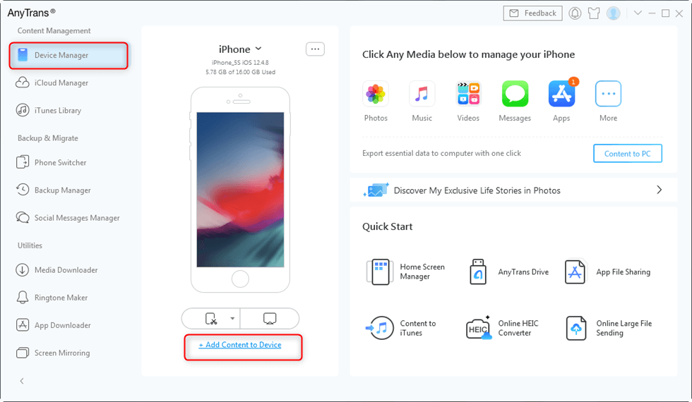 Choose Add Content to Device