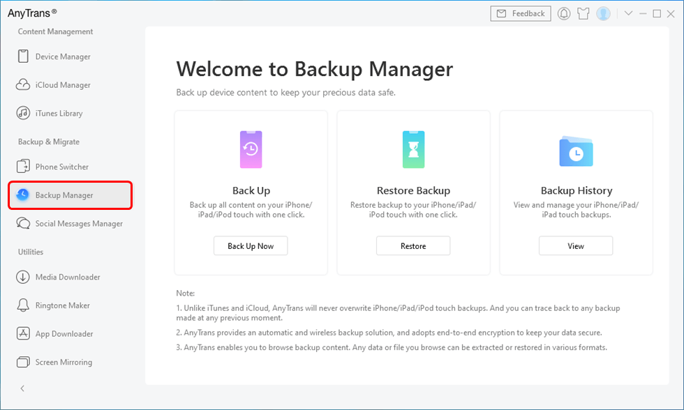 Enable Backup with AnyTrans