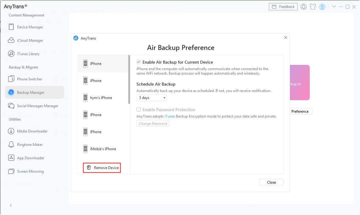 Air Backup Preference Screen