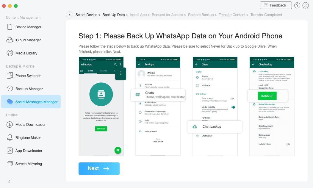 Backup WhatsApp on Samsung Phone