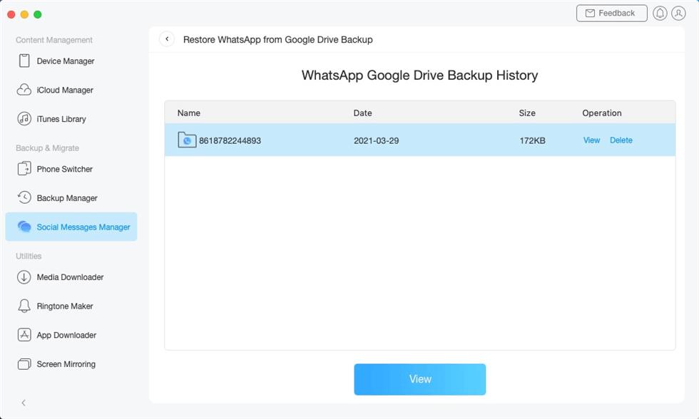 Select a WhatsApp Google Drive Backup