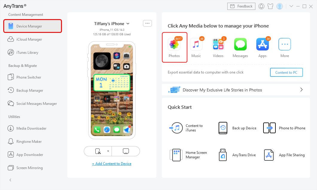 Click Photos to Preview and Manage