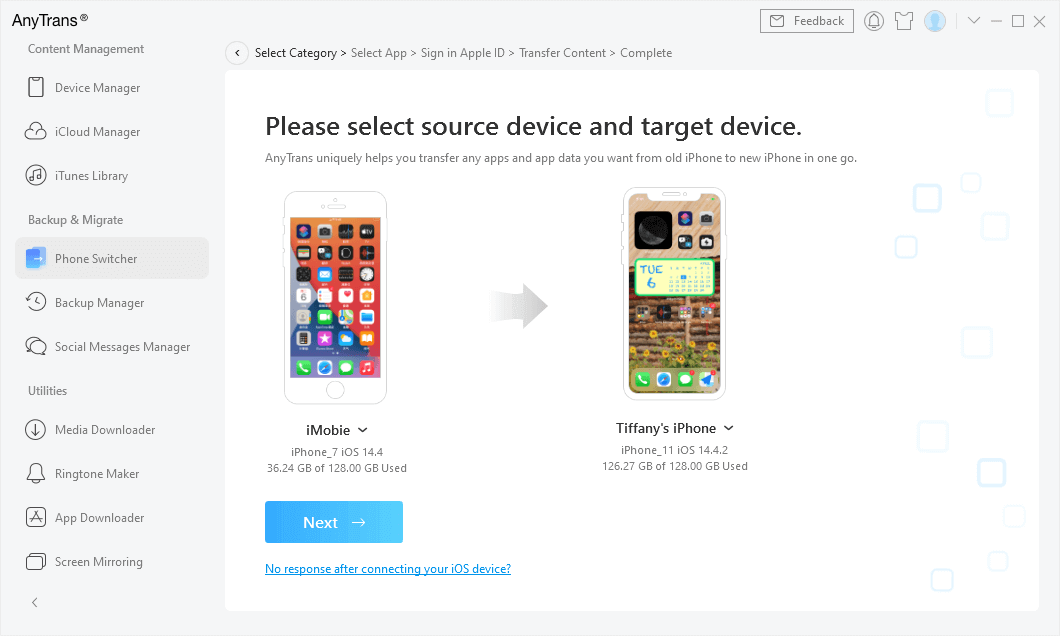 Confirm New iPhone as the Target Device