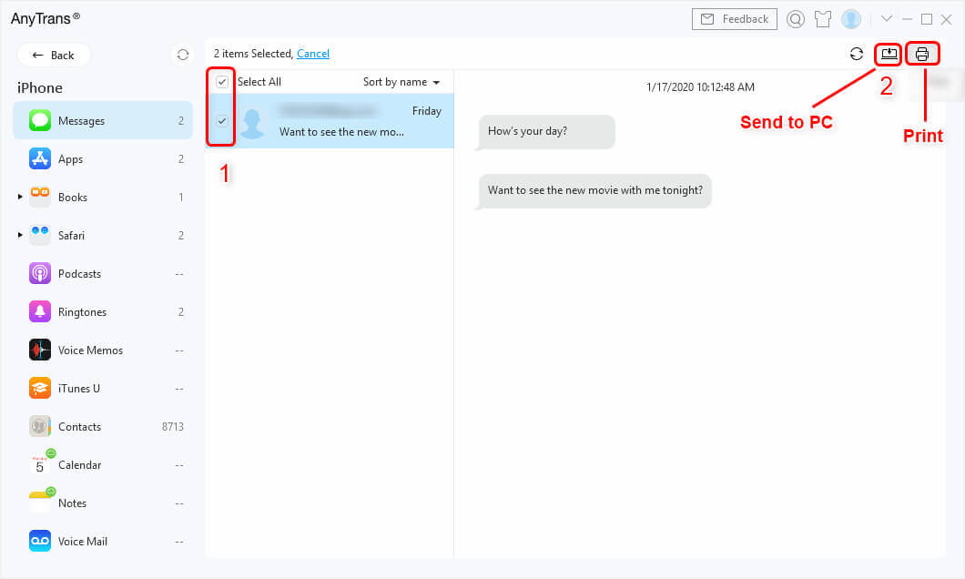 Send Messages to PC or Print iPhone Messages