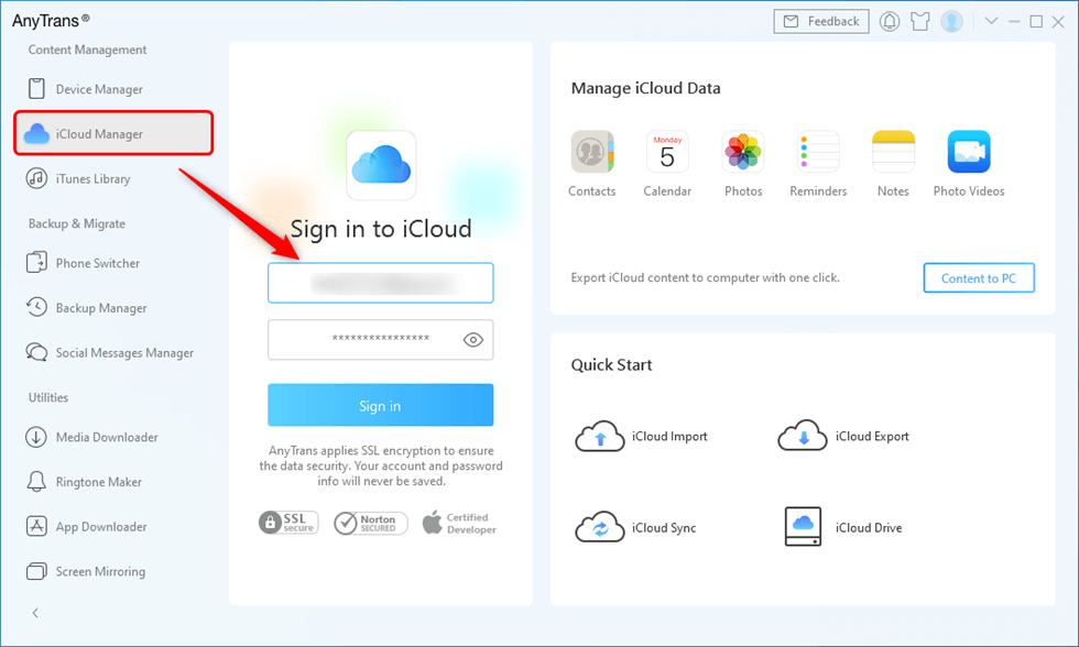 Sign in iCloud Account in AnyTrans