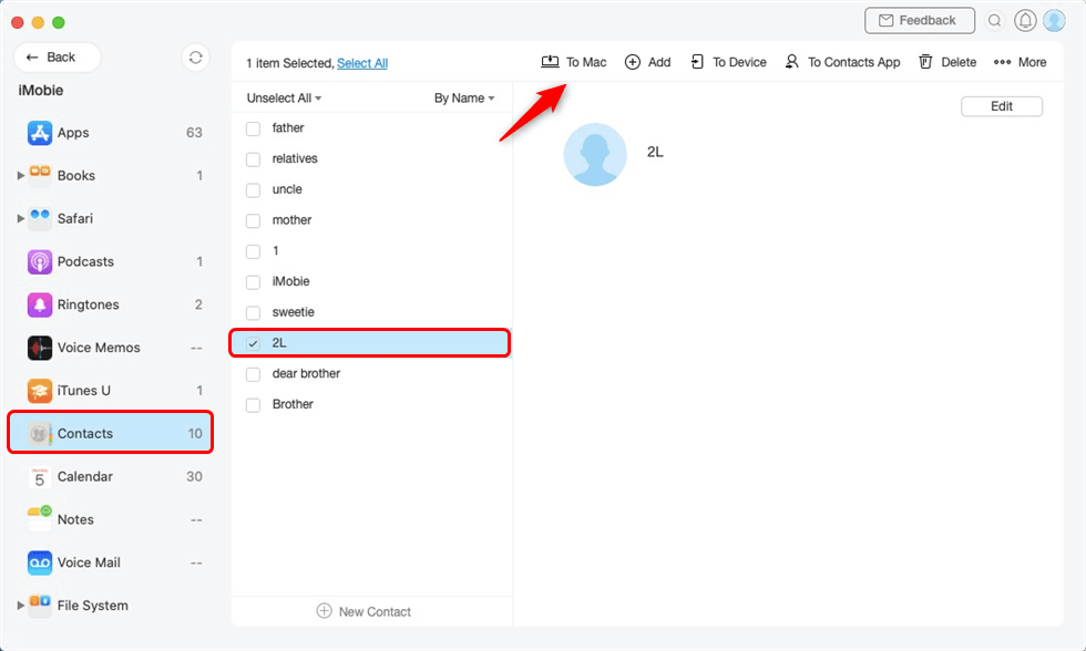 Select Contacts and Sync to Mac