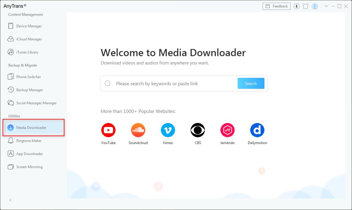 Choose Media Downloader Option in AnyTrans - Step 1