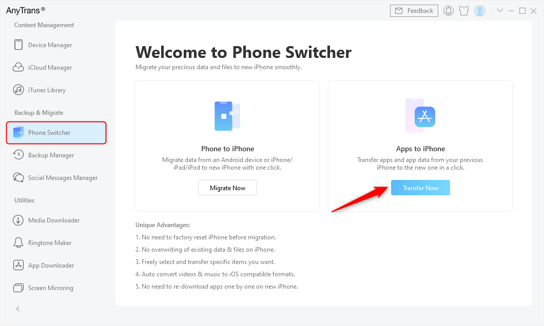 Go to Phone Switcher and Choose Apps to iPhone
