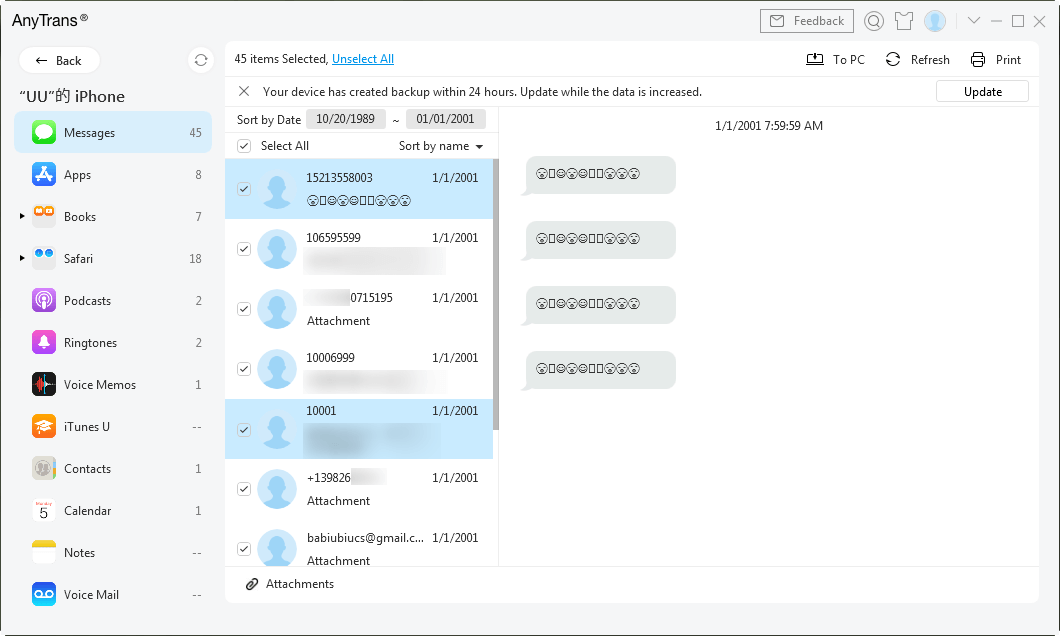 Choose the Messages You Want to Export and Print