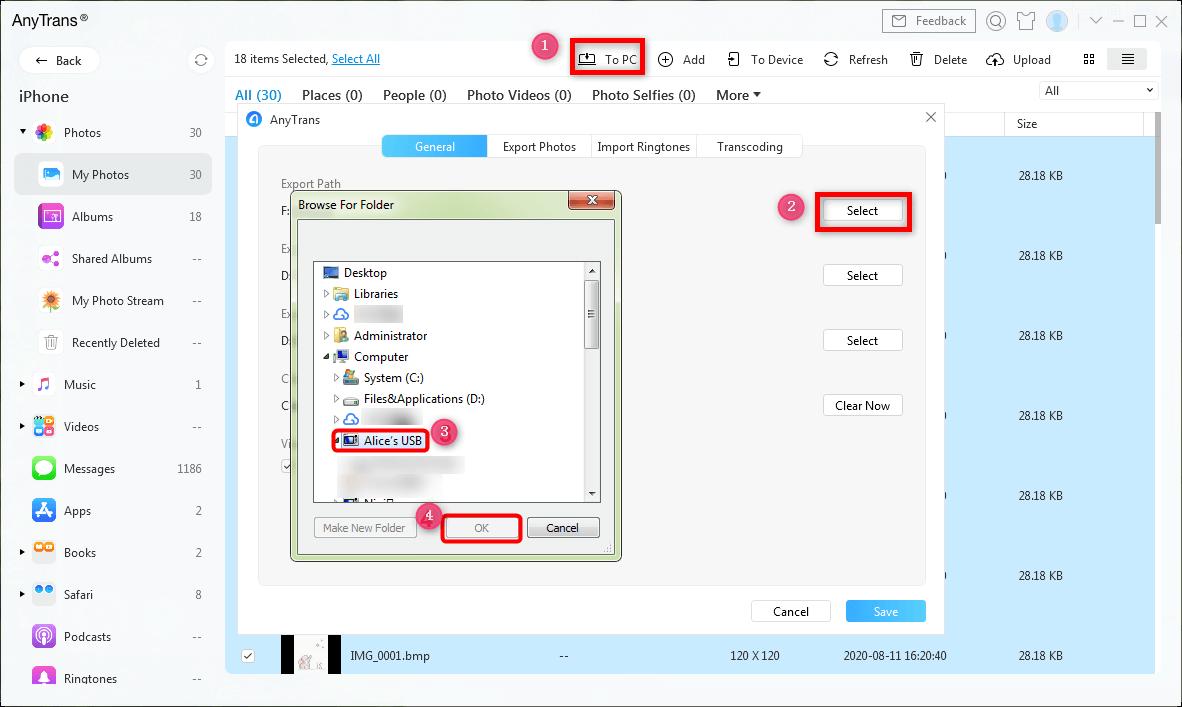 Transfer Photos to USB/Flash Drive