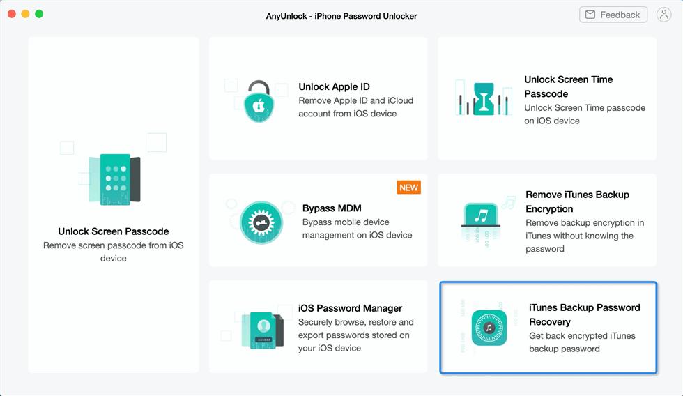 How to Retrieve iTunes Backup Passcode via AnyUnlock