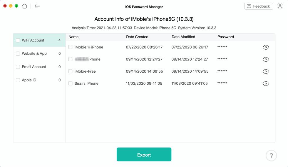 View and Export Passwords