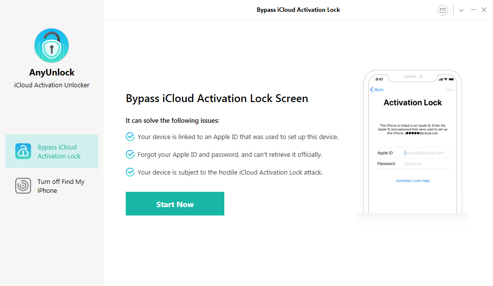 Click on Start Now to Bypass iCloud Activation Lock