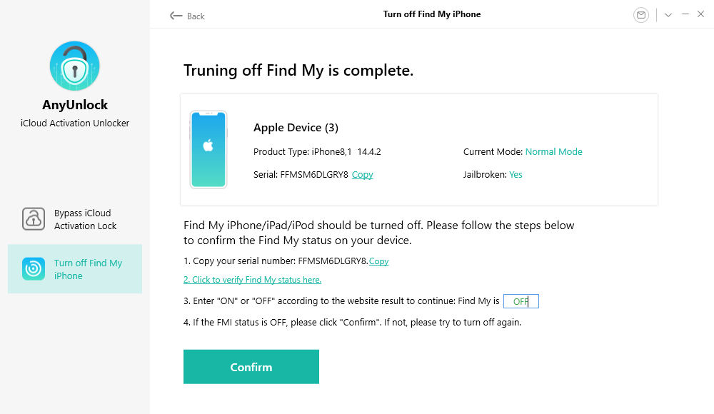 Enter the Find My iPhone Status