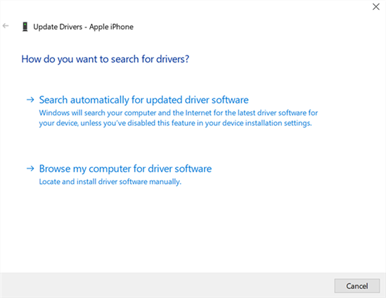 Search and Install the iPhone Drivers