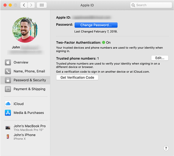 Change Password on Mac via Two-Factor Authentication