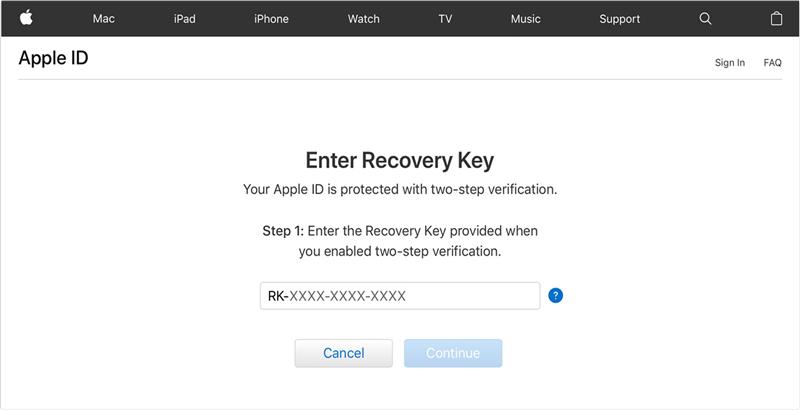 Unlock Apple ID via Recovery Key