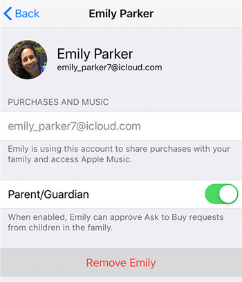 Remove your family members from your account Image credit: Apple Support