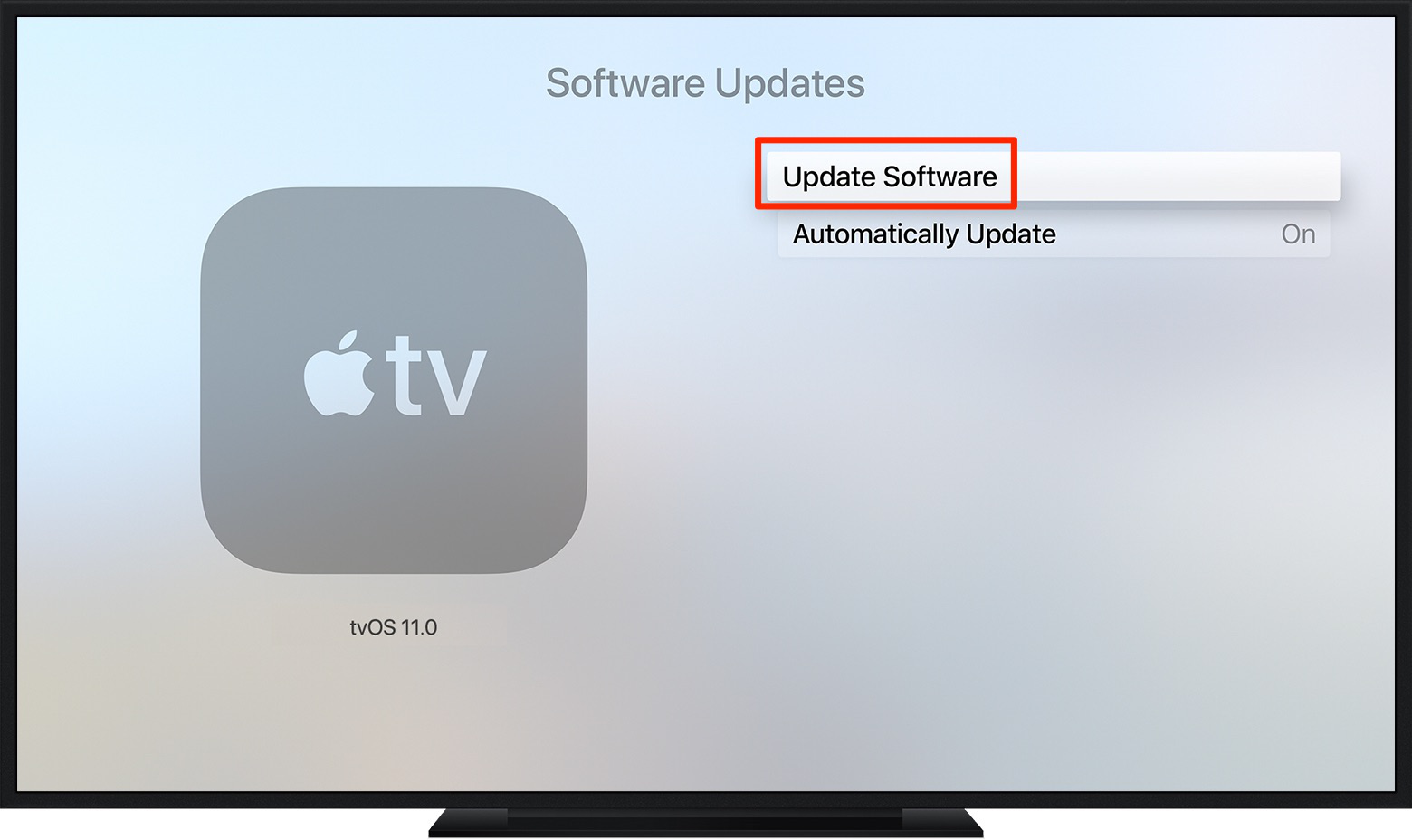 Fix Apple TV Cannot Connect to iTunes Store via Update OS Software - Step 1