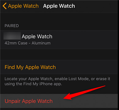 Unpair an Apple Watch from the iPhone