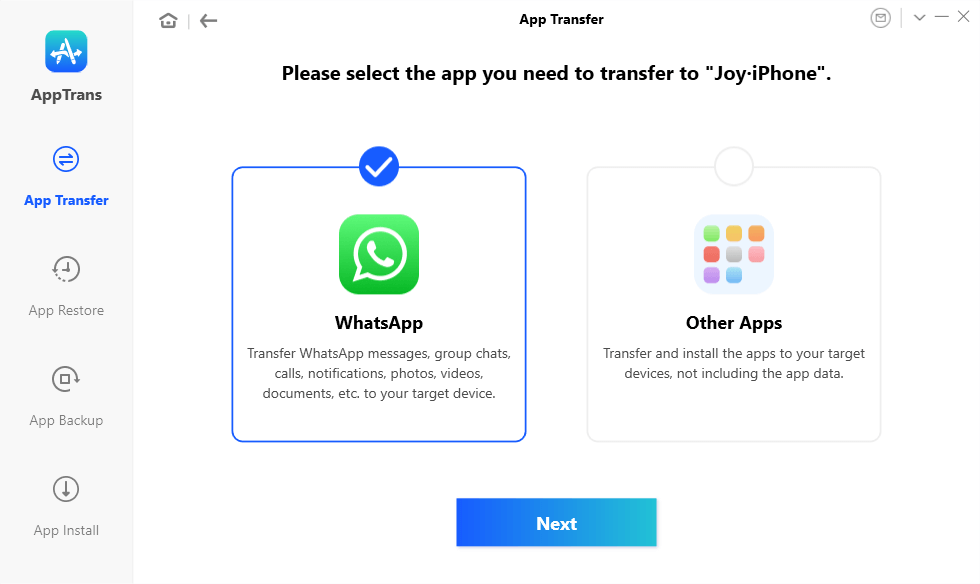 Transfer WhatsApp from Android to iPhone with AppTrans