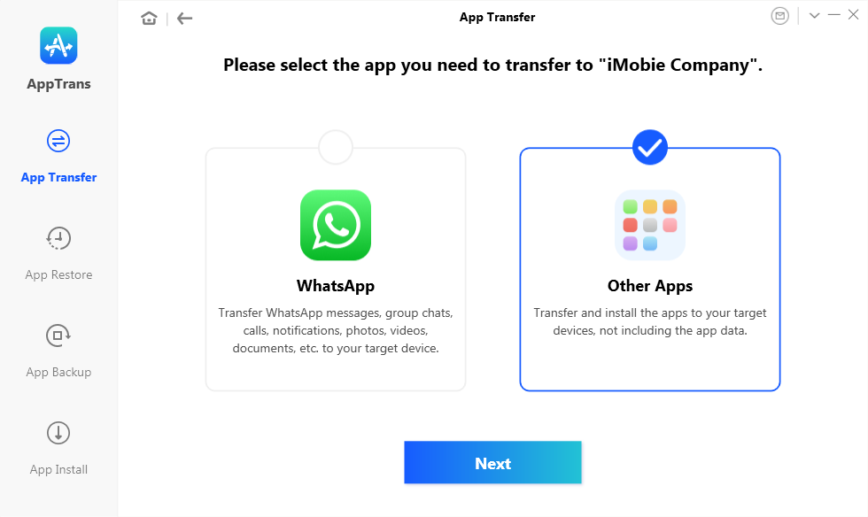 Choose Other Apps and Click on Transfer Now