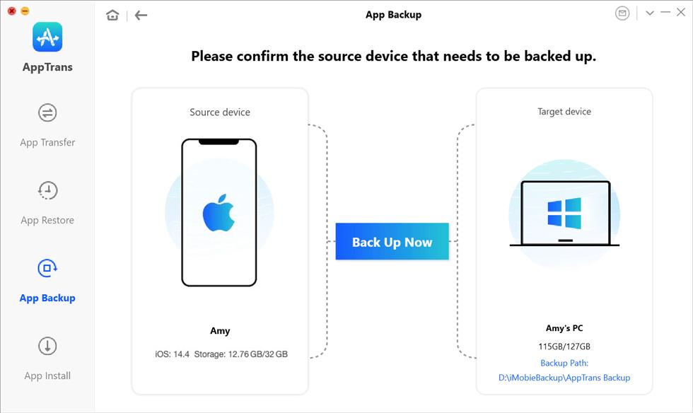 Click on AppTrans Backup Under App Restore