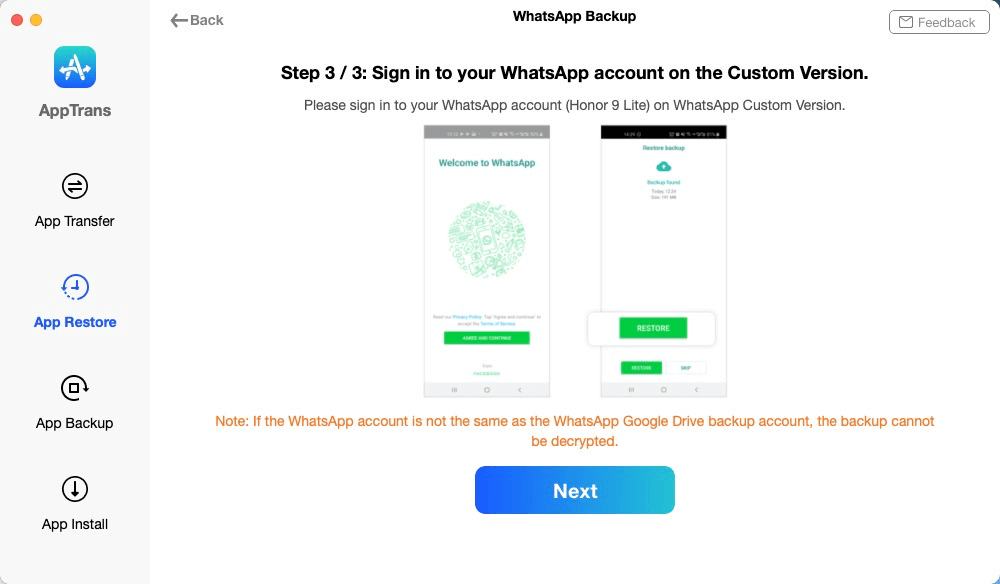 Sign in to the Same Google Drive Account on WhatsApp Custom Version
