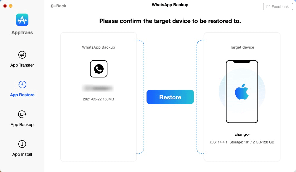 Click Restore to Restore WhatsApp Messages to iPhone