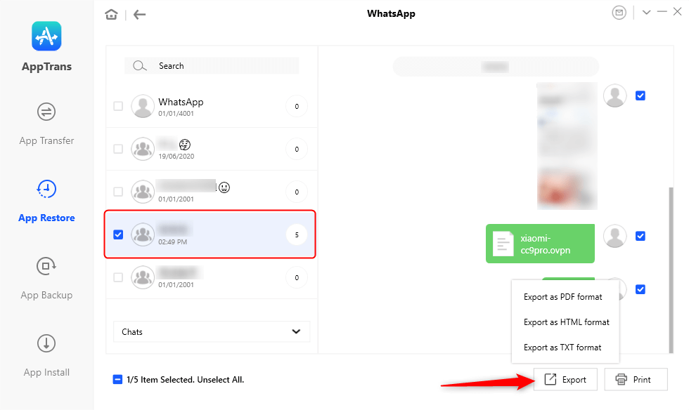 Export WhatsApp Chats to Computer