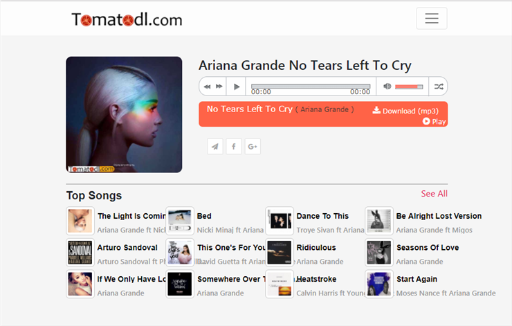 Free Download Ariana Grande No Tears Left to Cry from tomatodl