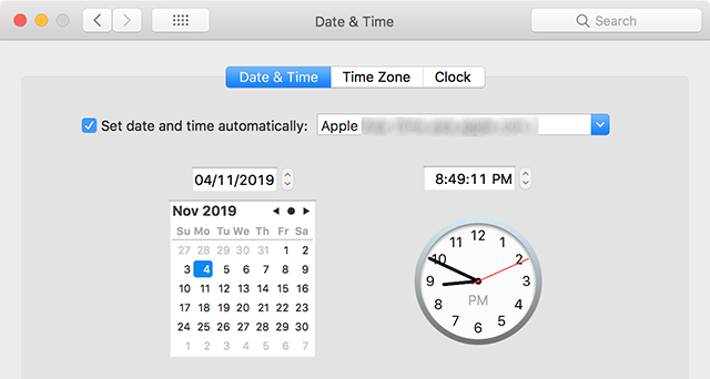 Automatic Date and Time on the Mac