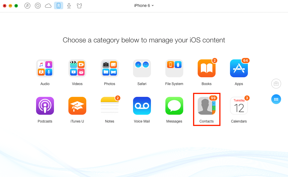 How to Backup Contacts to iCloud with AnyTrans - Step 2