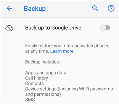 Back up apps to Google