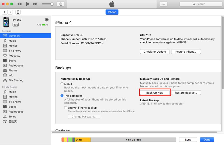 How to Backup Data from iPhone to iPhone with iTunes – Step 1