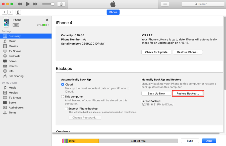 How to Backup Data from iPhone to iPhone with iTunes – Step 2