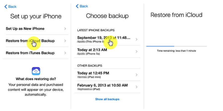 How to Backup Data from iPhone to iPhone with iCloud – Step 2