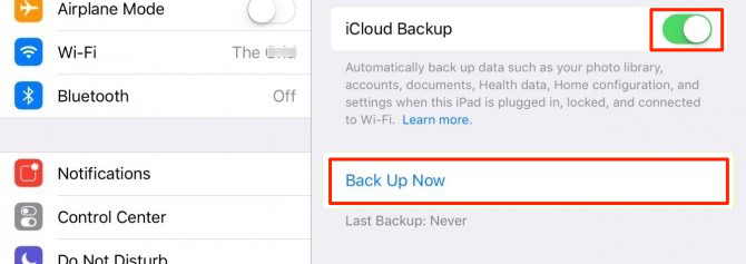 how to turn on cloud backup