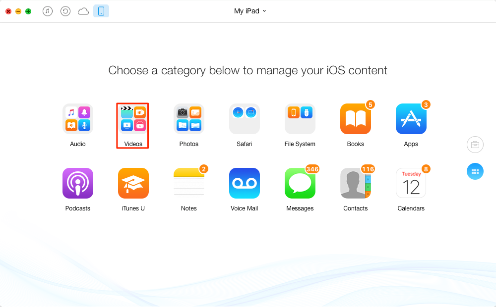 Backup iPad Videos to USB/Flash Drive with AnyTrans – Step 1