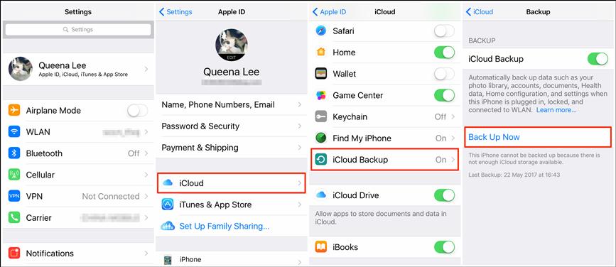 Backup iPhone 6/6s via iCloud