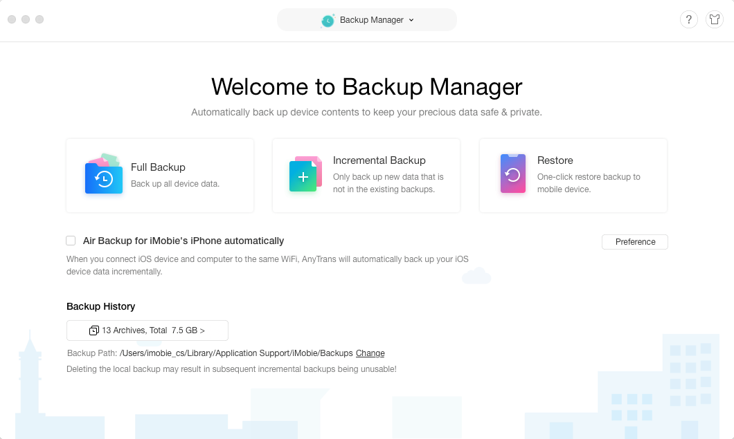 Approach Backup Manager Page