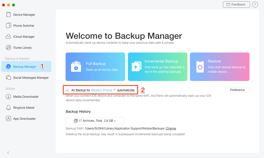 Backup iPhone iPad Automatically with AnyTrans - Step 3