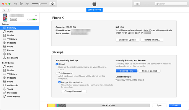 Backup your iPhone to your computer using iTunes
