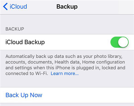 Create an iCloud backup of your iPhone