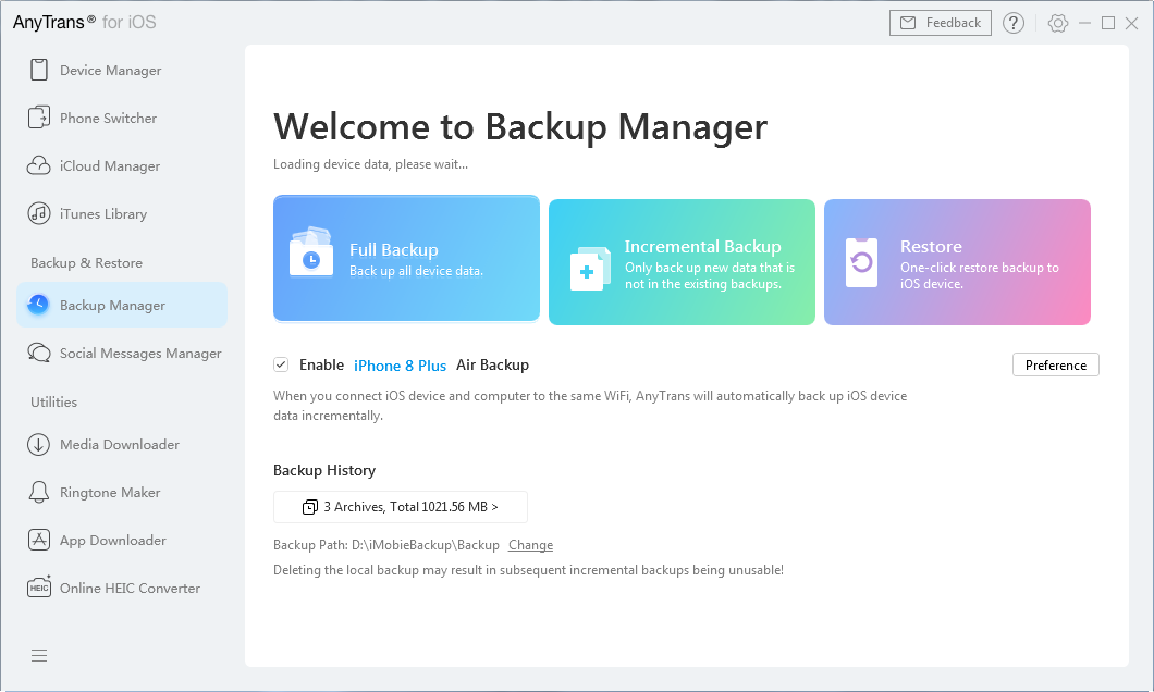 Access the Backup Manager section in the app