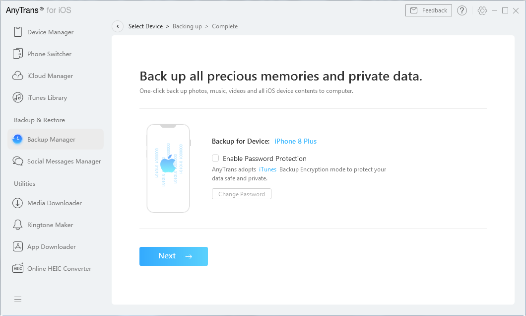 Specify options for the iPhone backup