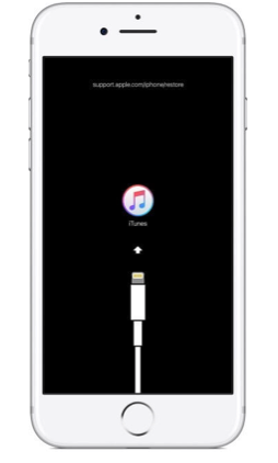 Connect to iTunes screen on an iPhone